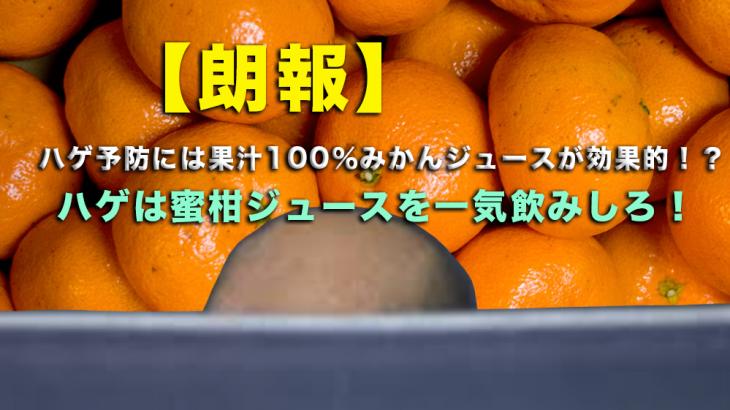 【朗報】ハゲ予防には果汁100%みかんジュースが効果的!?ハゲのボケ防止にも・・・!? ハゲは蜜柑ジュースを一気飲みしろ!